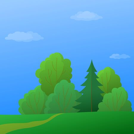 bucolical: Vector, summer landscape: forest with green trees and the blue sky with white clouds