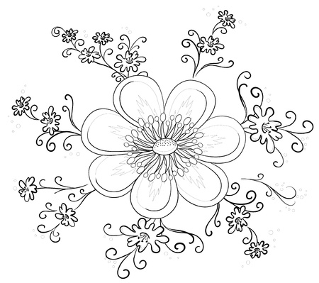 Abstract symbolical flower, monochrome contours, isolated Stock Vector - 9594403