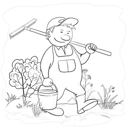 man gardener with a bucket and a rake work in a garden, contours Stock Vector - 9594404