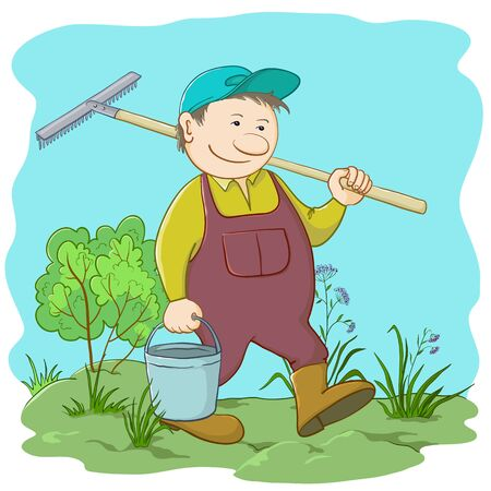 cartoon wood bucket: man gardener with a bucket and a rake work in a garden