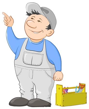 perito: Trabajador de hombre en una gorra y un uniforme con un cuadro de herramientas