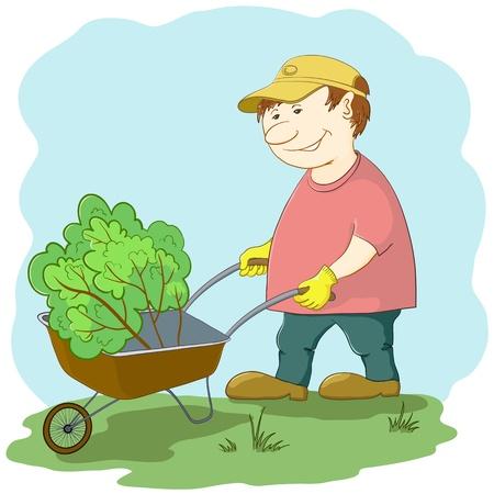 Man gardener works in a garden, rolls a wheelbarrow with a plant Vector