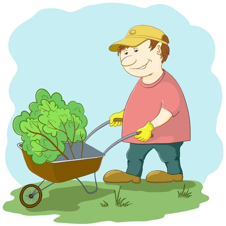 work environment: Man gardener works in a garden, rolls a wheelbarrow with a plant