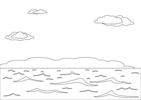 natural landscape, the sea and sky, monochrome contours Stock Vector - 9594410