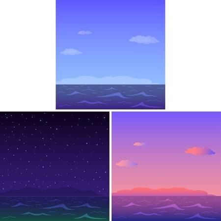 tag und nacht: Naturlandschaft, Meer und Himmel, festlegen: Morgen, Tag, Nacht