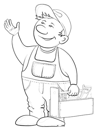 handsaw: Hombre trabajador en una gorra y un uniforme con un cuadro de herramientas, contornos Vectores