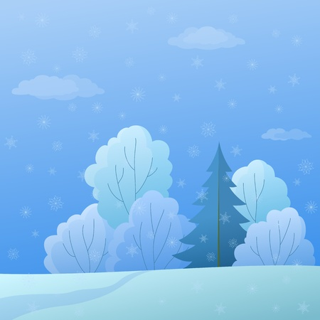 winter christmas landscape: forest with coniferous and deciduous trees and snow Stock Vector - 9594412
