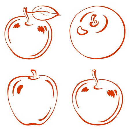 fruits, set red symbolical outline apples with leafs Vector