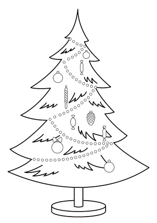 furtree: Christmas fur-tree with toys and ornament, monochrome contours