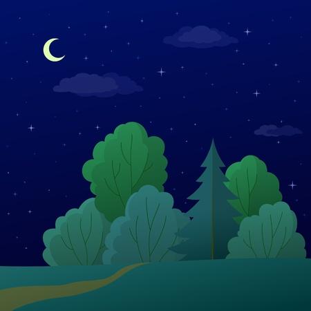 reforestaci�n: Vector, paisaje: bosque de verano de noche con �rboles verdes y el cielo con la Luna y las estrellas
