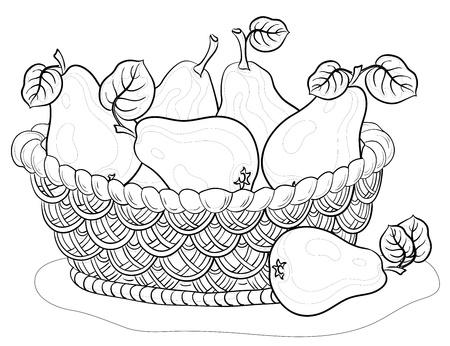 canasta de frutas: Vector, contornos, Jacana cesta con frutas, peras con hojas