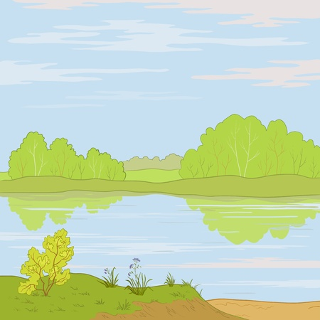 bucolical: Vector, summer landscape: forest, river and the blue sky with white clouds Illustration