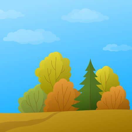 coppice: Vector, autumn landscape: forest with various trees and the blue sky with white clouds Illustration