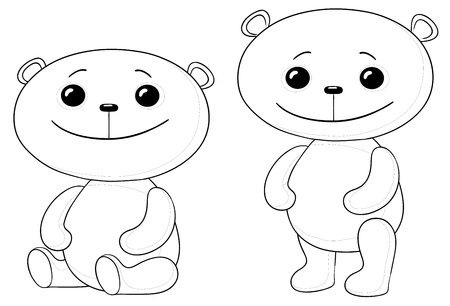 Vector, two toy teddy bears friends, sits and stand, contours Stock Vector - 9720943