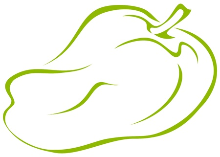 Vegetable, green pepper, vector pictogram, isolated on white background Vector