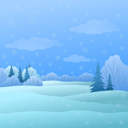 Vector, winter christmas landscape: forest with coniferous and deciduous trees and snow Stock Vector - 9720065