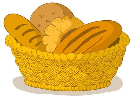 košík: Vector, potraviny: chutné čerstvý chléb, bochníků a válečky v wattled košíku