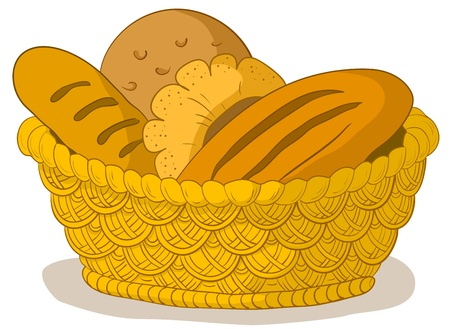 Vector, food: tasty fresh bread, loafs and rolls in a wattled basket Vector