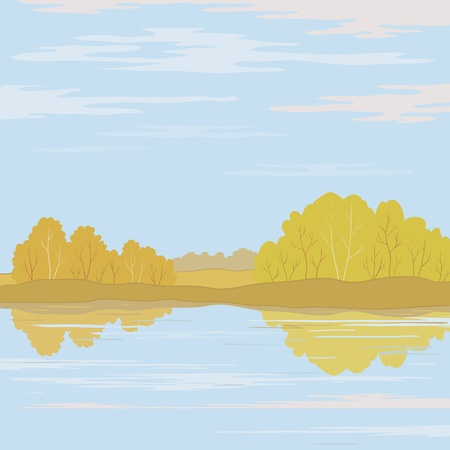 bucolical: Vector, autumn landscape: forest, river and the blue sky with white clouds Illustration