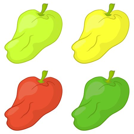 Vector, vegetable: set various peppers, isolated on white background Illustration