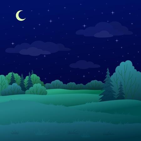 so�ando: Vector, paisaje: bosque de verano de noche con �rboles verdes y el cielo con Luna y estrellas