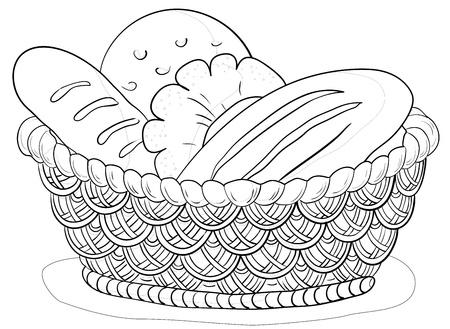 Vector, food: bread, loafs and rolls in a wattled basket, contour photo