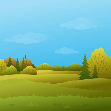 Vector, autumn landscape: forest with various trees and the blue sky with white clouds Vector
