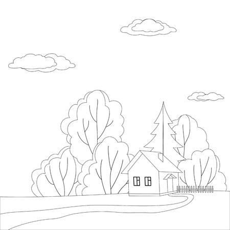 fur tree: Fumetto vettoriale, contorni: panorama, casa di campagna nella foresta vicino agli alberi