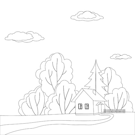datcha: Vector cartoon, les contours: paysage, maison de campagne dans la for�t pr�s des arbres Illustration
