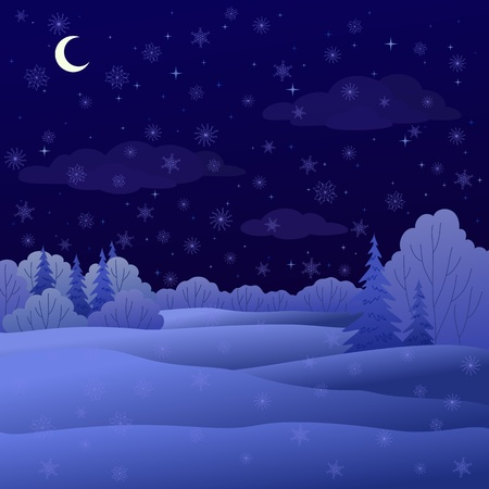 coniferous forest: Vector, invierno paisaje de Navidad: bosque de noche con �rboles de hoja caducas y con�feras y nieve
