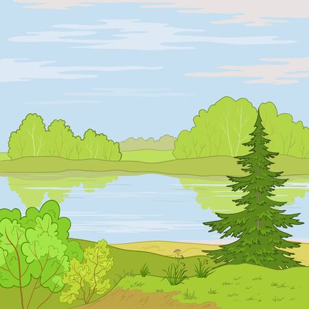 coppice:   summer landscape: forest, river and the blue sky with white clouds
