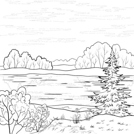 fur trees: Vector, landscape: forest, river and sky with clouds, contour Illustration