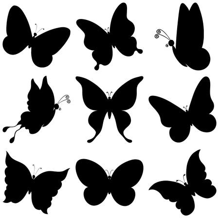 tekening vlinder: Verschillende vlinders, zwarte silhouetten op witte achtergrond, vector Stock Illustratie