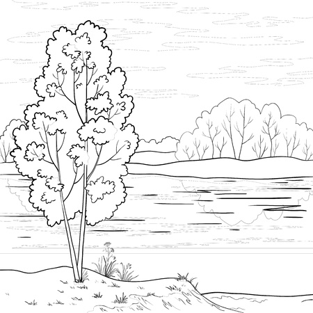 bucolical: Vector, landscape: forest, river and sky with clouds, contour Illustration