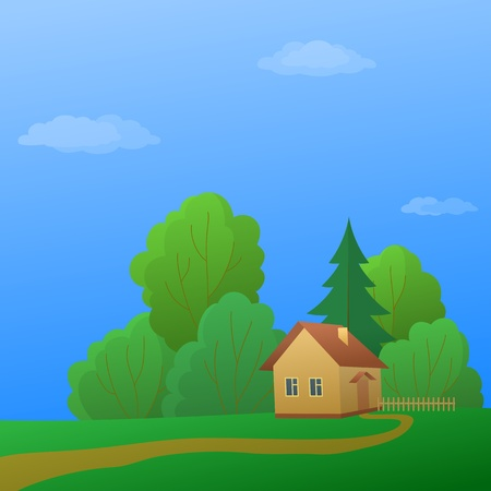 Vector cartoon, summer landscape: country house in forest near to trees Vector