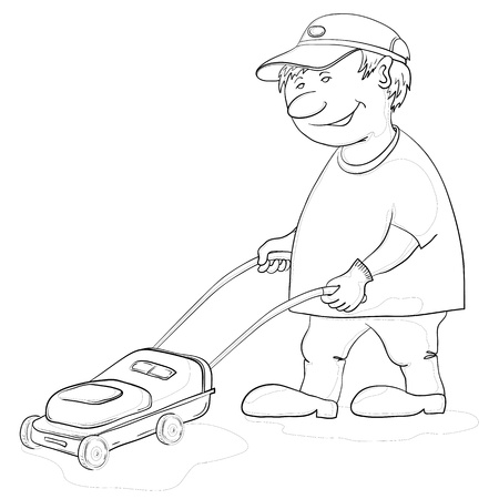mowing the lawn: Vector, lawn mower man work, monochrome contours on white background