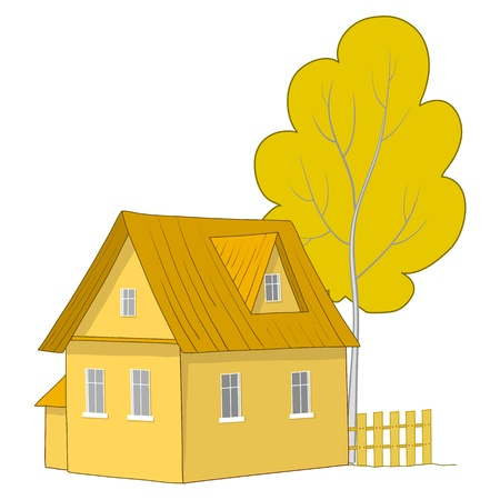 Vector cartoon, autumn landscape: country house with a tree Vector