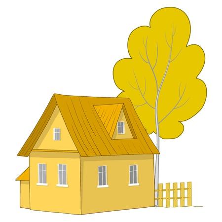 datcha: Vector cartoon, paysage d'automne: maison de campagne avec un arbre