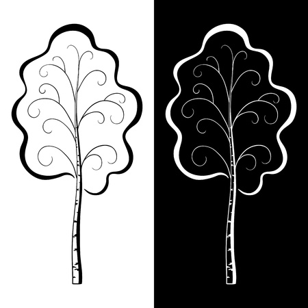 Vector, pictogram: two trees birches, black and white contours Stock Vector - 9930706