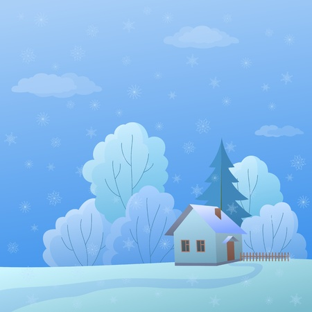 Vector cartoon, winter landscape: country house in forest near to trees Vector