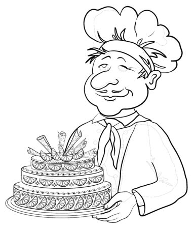 Vector, men cook with holiday cake, monochrome contours Vector