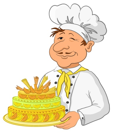 Vector, cook with beautiful sweet holiday cake, isolated Vector