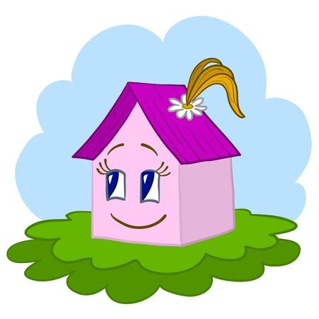 Vector, toy house - girl on a green summer meadow Vector