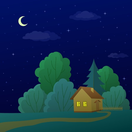 Vector cartoon, summer landscape: country house in night forest Vector