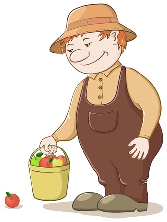 Vector, men gardener with a bucket of ripe delicious apples Stock Vector - 9930718