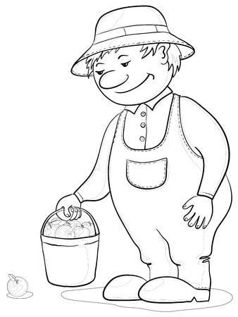 Vector, men gardener with a bucket of apples, monochrome contours Stock Vector - 9930720