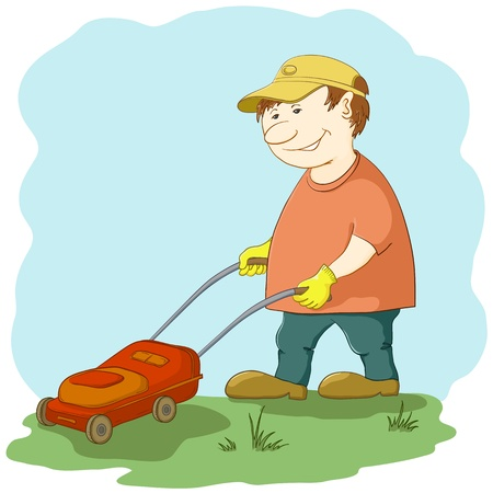 Vector, lawn mower man work, mows a green grass on a lawn