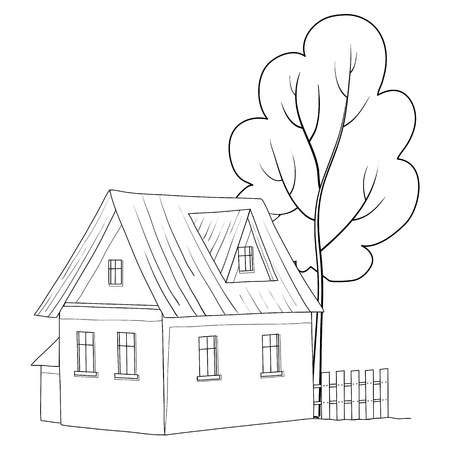 Vector cartoon, landscape: country house with a tree, monochrome contours