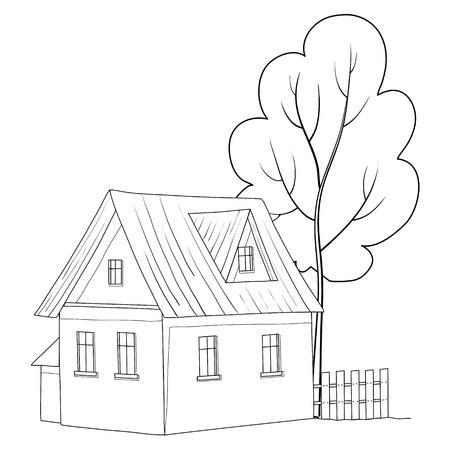datcha: Vector cartoon, le paysage: maison de campagne avec un arbre, les contours monochromes