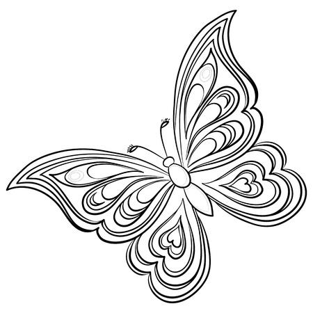 contorno: Vector, mariposa, contornos monocromo de dibujar a mano sobre un fondo blanco Vectores